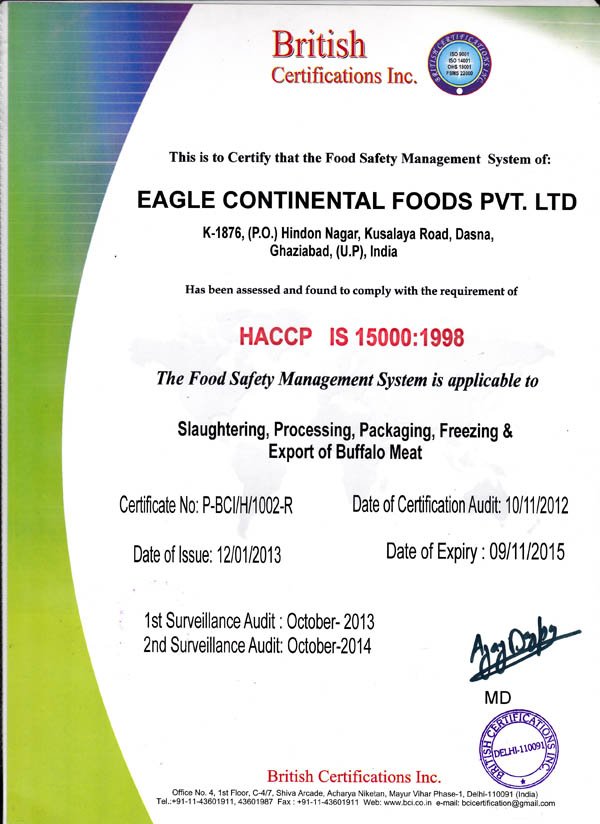 Quality Certification-Buffalo meat exporter in India,Buffalo meat ...